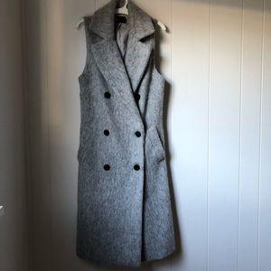 Pure Navy Gray Wool Sleeveless Overcoat 'Duster'
